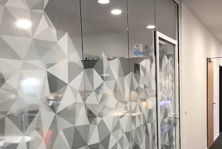 Nuvias glass walls branding