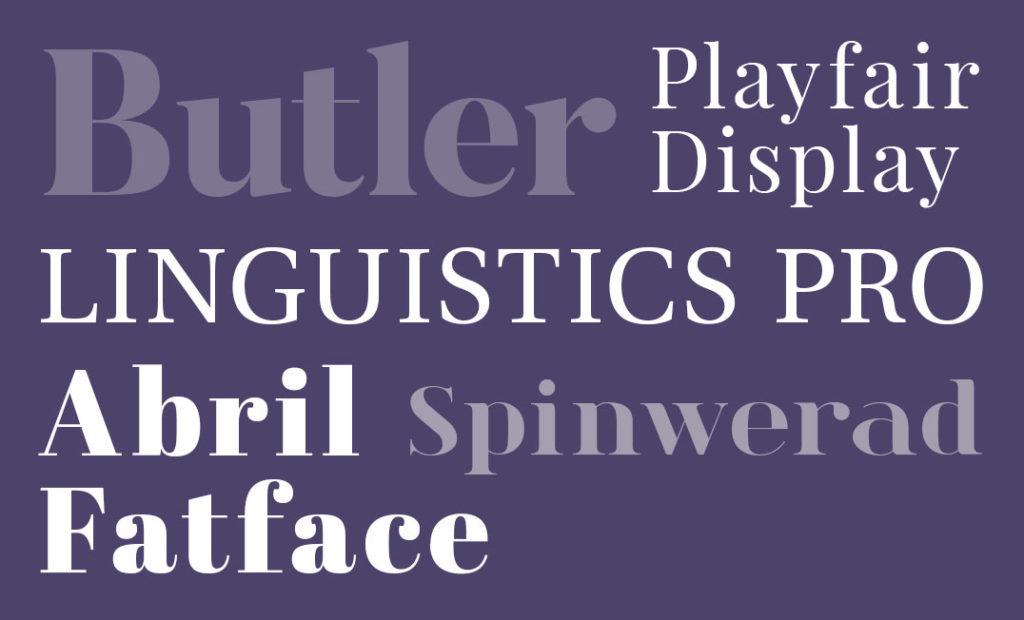 Serif font examples