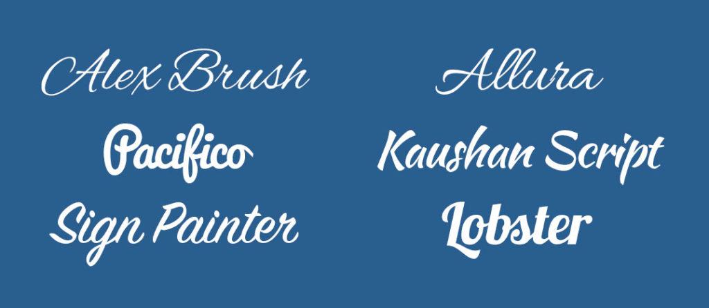 Examples of script font