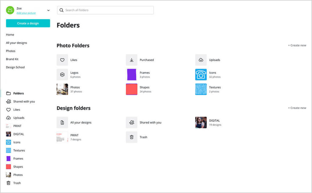 Canva folders screen